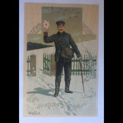 Mailick, Neujahr, Postbote, Brief,1900, Golddruck ♥ (33671)