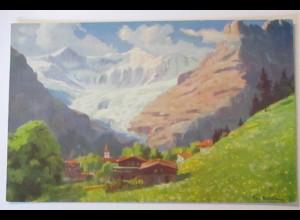 Paola Kutscha, Grindelwald mit den Fiescherhörnern, Künstlerkarte (32613)