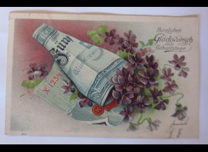 Geburtstag, Geldschein, Veilchen, 1909, Prägekarte ♥ (46719)