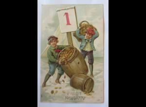 Neujahr, Kinder, Mode, Fass, Münzen, Kalender, 1907, Prägekarte ♥ (40441)