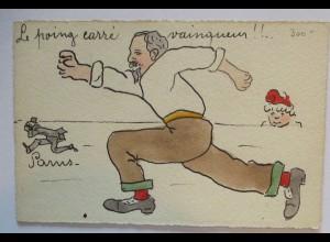 Frankreich Politische Karikatur Le poing carre ca. 1900 handcoloriert (19509)