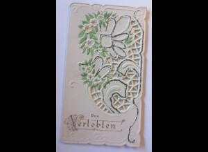 Klappkarte, Verlobung, Blumen, 1900, 14 cm x 8 cm ♥ (6103)