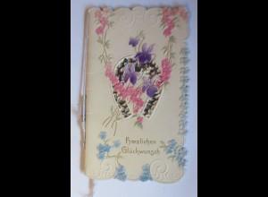 Klappkarte, Geburtstag, Hufeisen, Blumen, 1900 14 cm x 9 cm ♥ (5524)