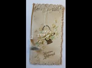 Klappkarte, Verlobung, Korb, Blumen, 1900 14 cm x 7,5 cm ♥ (2824)