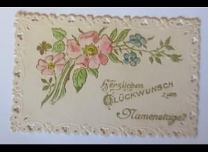 Jugendstil Kärtchen, Namenstag, Blumen, 1900 11 cm x 7 cm♥(19914)