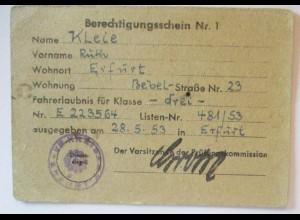 Führerschein Berechtigungsschein Klasse 3, DDR Erfurt 1953 (53127)