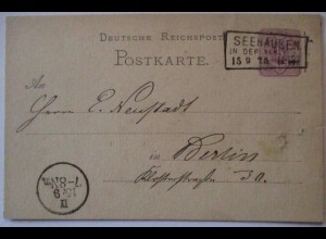 D.Reich, Ganzsache 1875 Kastenstempel Seehausen (55153)