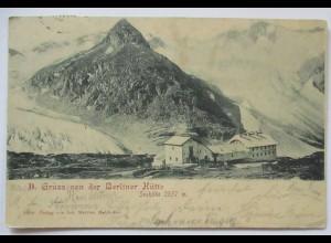Gruss von der Berliner Hütte in Tirol, 1900 aus Mayrhofen (2292)
