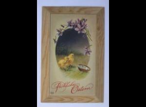 """Ostern, Küken, Blumen"" 1912, Prägekarte ♥ (63042)"