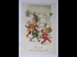 Weihnachten, Schneemann, Weihnachtsmann, Kinder, Spielzeug, 1931 ♥ (65346)
