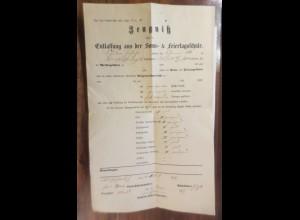 Zeugnis über die Entlassung aus der Sonn-& Feiertagsschule 1877 ♥ (28500)