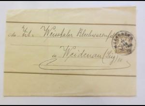 Ganzsache, Streifenbinder, Vignette, Bayern Marke, 1910 Weidenau /Sieg♥(63848)