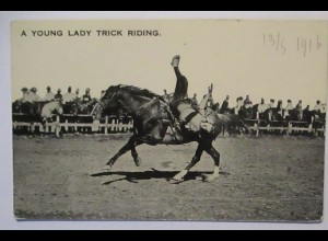 USA Wild West Rodeo, Young Lady Trick Riding 1916 (30255)