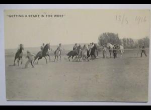 USA Wild West Pferde Rennen, Getting a Start in the West 1916 (34195)