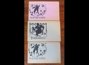 3 Scherenschnitt- Silhouetten Saal Post, 1900 ♥ (2312)
