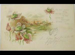 """Gruss aus, Blumen, Kirche"" 1900 ♥"