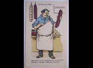 Frankreich, Scherzkarte Karikatur, Les Nouveaux Riches ca. 1920
