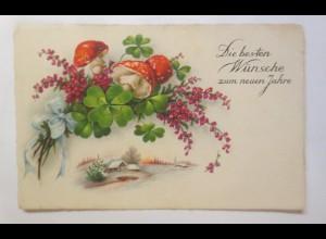 Neujahr, Winterlandschaft, Pilze, Kleeblatt, 1934 ♥ (65457)