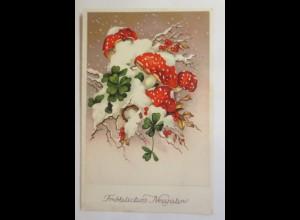 Neujahr, Pilze, Kleeblatt, Hufeisen, 1937 ♥ (15470)