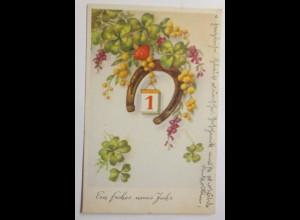 Neujahr, Kleeblatt, Pilze, Kalender, Hufeisen, 1943 ♥ (8917)