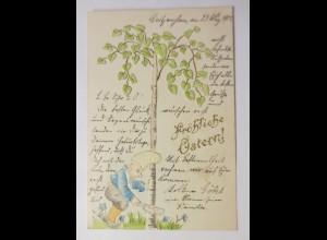 Pfingsten, Zwerge, Baum, 1902, Prägekarte ♥ (28970)