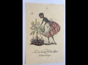 Geburtstag, Scherenschnitt, Frauen, Mode, Rosen, Katze, 1930 ♥ (7363)