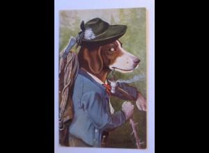 """""""Hund, Hühnerhund als Holzknecht"""" 1911, sig, Schoepfer ♥ (44165)"""