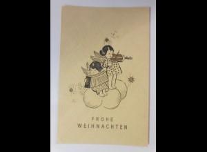 Weihnachten, Scherenschnitt, Engel, Violine, Akkordeon, 1946 ♥ (65613)