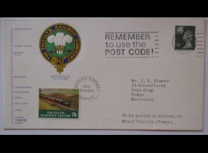 Großbritannien Eisenbahn, Talyllyn Railway Letter 1974 (72835)