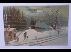 """""""Neujahr, Jäger, Hund, Sonne, Winter"""" 1911, Golddruck ♥"""