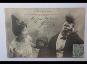 """""""Zirkus, Clown, 2- M. et M Auguste mit Hund"""" 1906 ♥"""