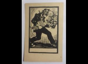 Scherenschnitt, Männer, Weihnachtsbaum, 1921 ♥ (25885)