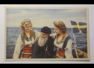 Schweden, Frauen, Männer, Boot, Alt und Jung in Harmonie, 1920 ♥ (72766)