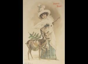 """""""Weihnachten, Rehe, Spielzeug, Hutmode, Mode""""1900 ♥ (19170)"""