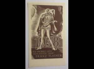Ex Libris Neujahr Eulenspiegel, 1938 Originale Franz Slatner ♥