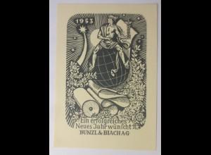 Ex Libris Neujahr, Bunzl & Biach A.G. 1953 Originale ♥