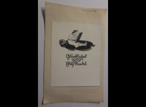 Ex Libris Neujahr, 1939, Originale Edith Riedel ♥