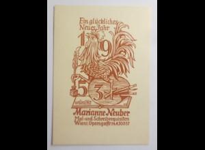 Ex Libris Neujahr, 1953, Originale Marianne Neuber Wien ♥