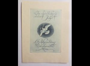 Ex Libris Neujahr, Taube, ca.1930 Originale Hans Frank ♥