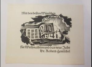 Ex Libris, Weihnachten, Neujahr, 1940-1941, Originale Dr. Robert Hentschel ♥