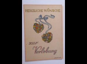 """""""Verlobung, Herz, Blumen"""" 1945, Goldschmidt ♥"""