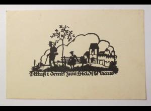 Scherenschnitt, Muß i denn zum Städtle raus,1910, A.M. Schwindt ♥ (27737)