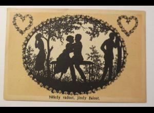 Scherenschnitt, Männer, Frauen, Bank, Liebe, Herz, 1910 ♥ (25708)