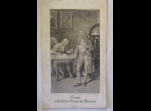 Isaac Newton entdeckt die Gesetze des Himmels, Druck von Lange ca. 1839 (72296)