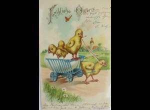 """""""Ostern, Küken, Wagen"""" 1904, Prägekarte ♥ (7573)"""