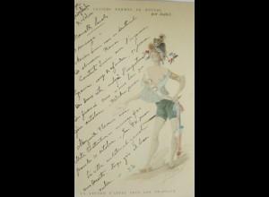Künstlerkarte, Mode, Hutmode, 1900,sig. par Japhet, La Lettre du Pays ♥ (15563)