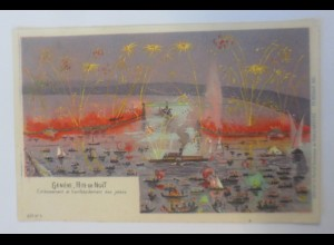 Genf, Geneve Schweiz Fete de Noit, Feier in die Nacht, 1909 ♥ (54866)