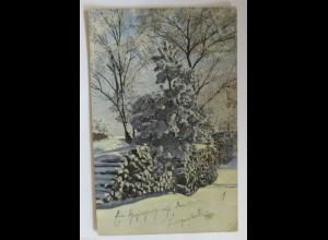 Photochromie, Weihnachten, Winterlandschaft, 1909 ♥ (34401)