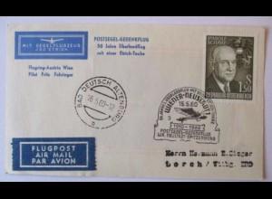 Österreich, Postsegel Gedenkflug 50 Jahre Überlandflug Etrich Taube 1960