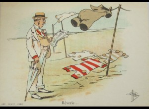 Künstlerkarte, Männer, Bademode, 1900, sig. Pvillavme, Reverie ♥ (3007)